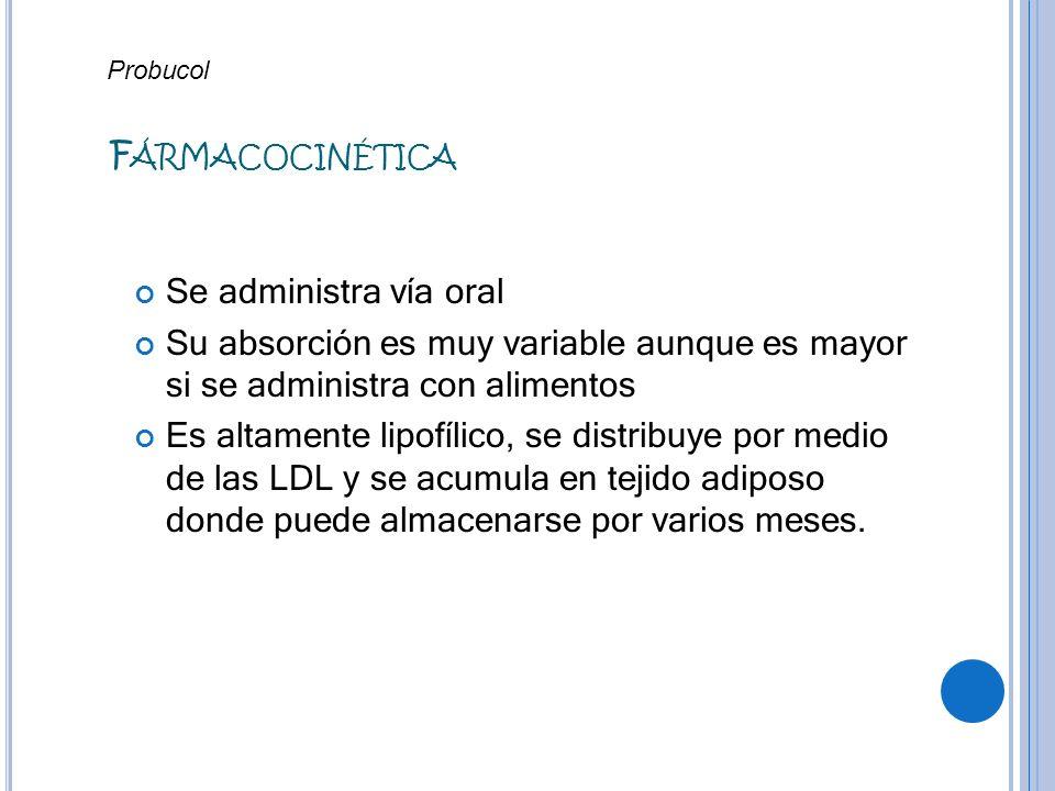 F ÁRMACOCINÉTICA Se administra vía oral Su absorción es muy variable aunque es mayor si se administra con alimentos Es altamente lipofílico, se distri