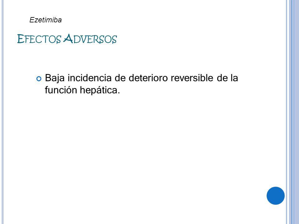 E FECTOS A DVERSOS Baja incidencia de deterioro reversible de la función hepática. Ezetimiba