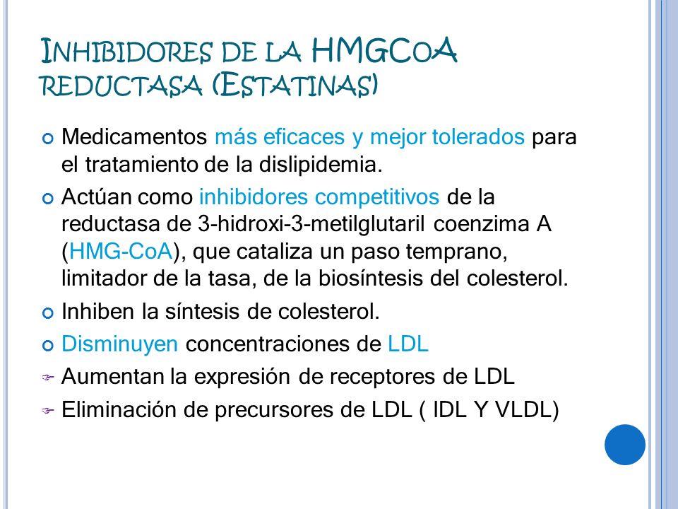 I NHIBIDORES DE LA HMGC O A REDUCTASA (E STATINAS ) Medicamentos más eficaces y mejor tolerados para el tratamiento de la dislipidemia. Actúan como in