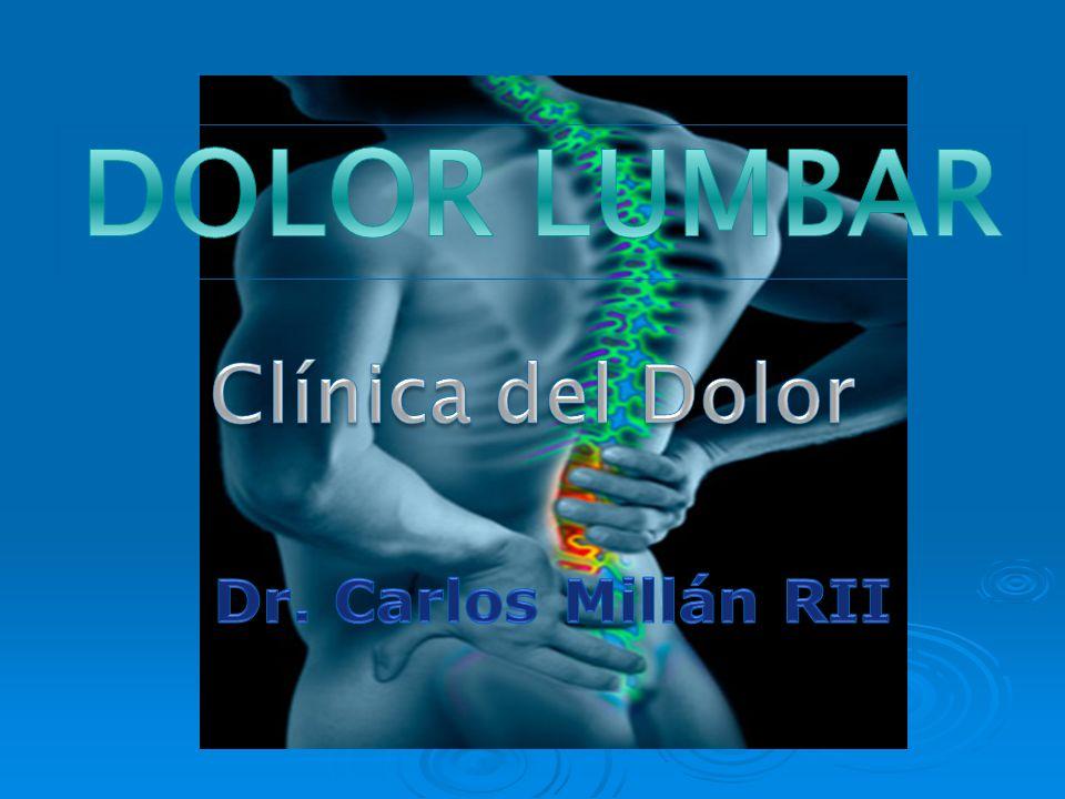 Generalidades El 90% de las personas sufre dolor lumbar en algún momento de su Vida El 90% de las personas sufre dolor lumbar en algún momento de su Vida Se presenta en un 80 a 90 % de la población adulta.
