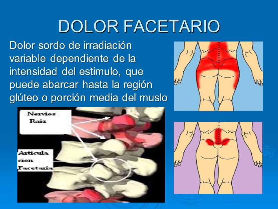 DOLOR FACETARIO Dolor sordo de irradiación variable dependiente de la intensidad del estimulo, que puede abarcar hasta la región glúteo o porción medi