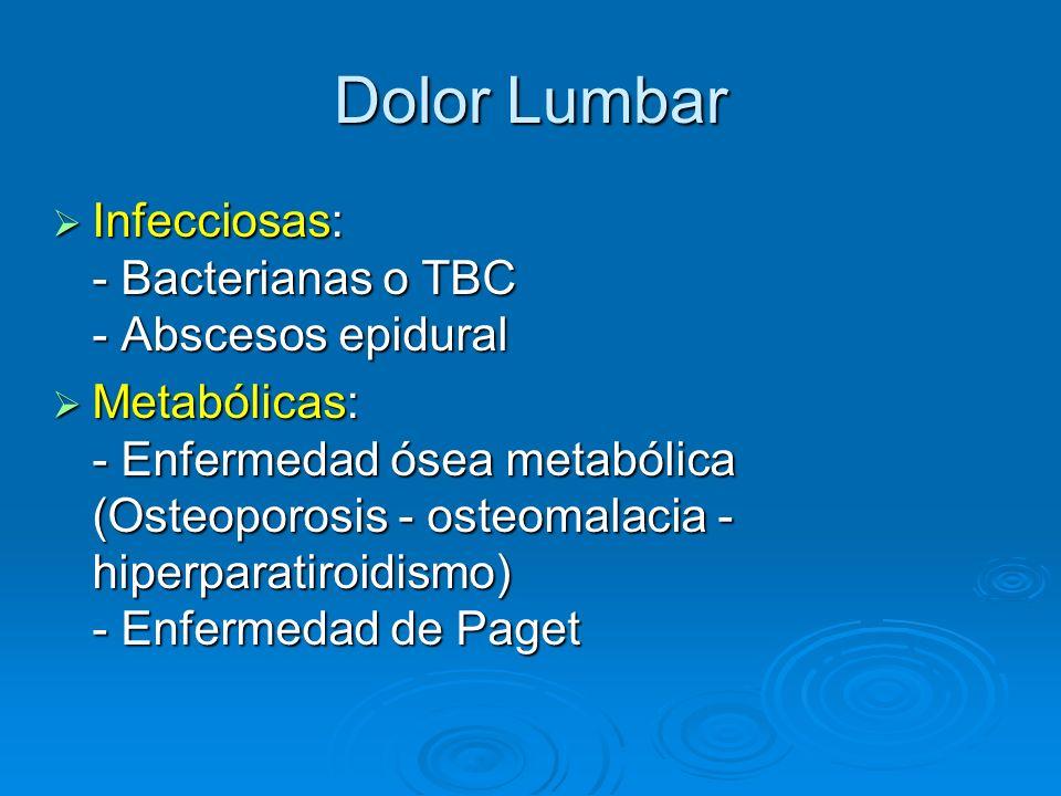 Dolor Lumbar Infecciosas: - Bacterianas o TBC - Abscesos epidural Infecciosas: - Bacterianas o TBC - Abscesos epidural Metabólicas: - Enfermedad ósea
