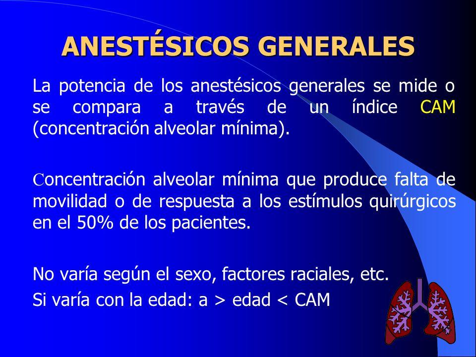 Los anestésicos generales se encuentran entre los fármacos aprobados más peligrosos con un margen de seguridad muy bajo (2 a 4). ANESTÉSICOS GENERALES