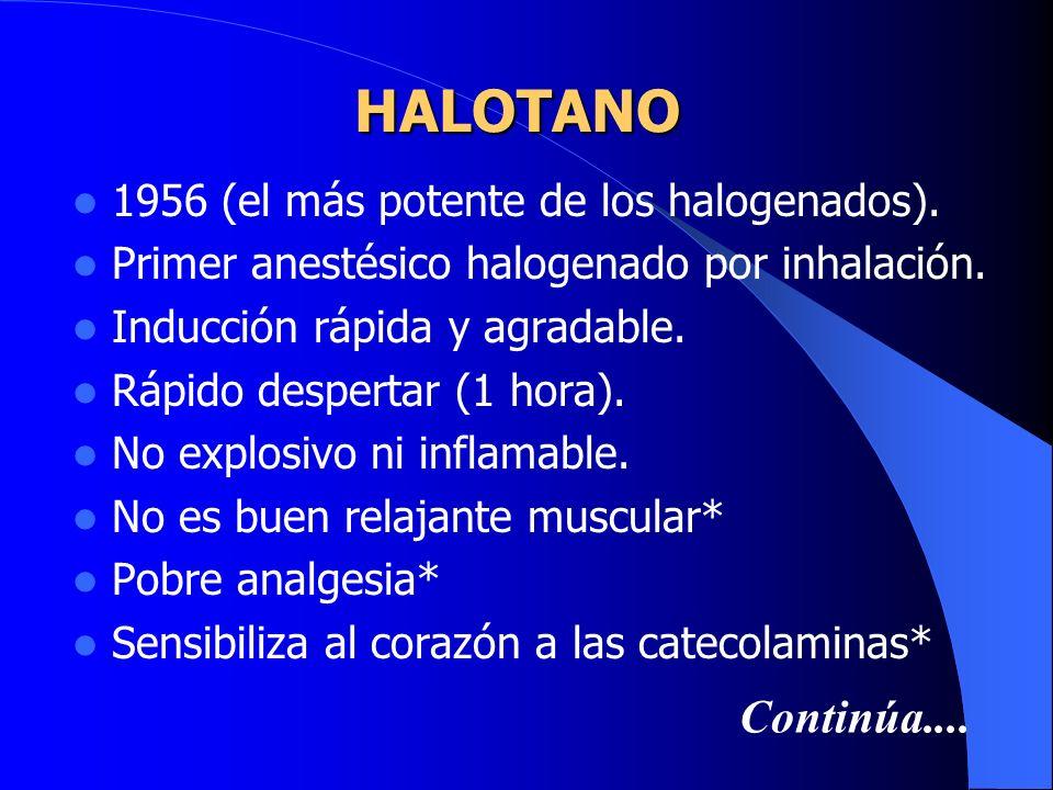 ETILENO Sólo tiene interés histórico Inflamable y explosivo Potente anestésico Olor desagradable Actualmente en desuso
