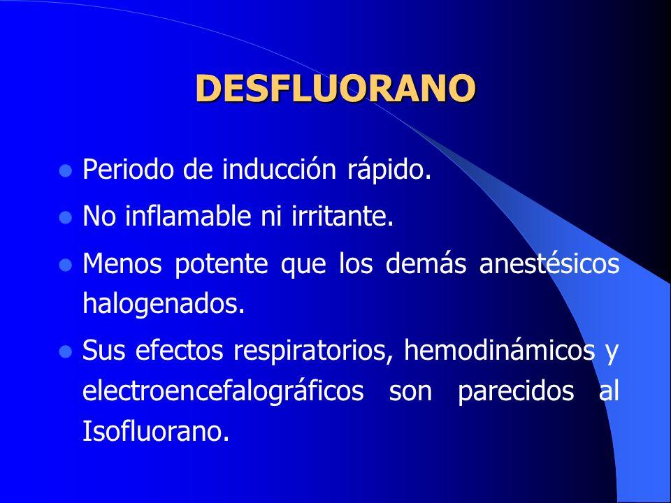 SEVOFLUORANO Acción rápida y agradable (permite prescindir del uso de agentes IV). Se metaboliza un 3% a iones fluoruros. No inflamable ni irritante.