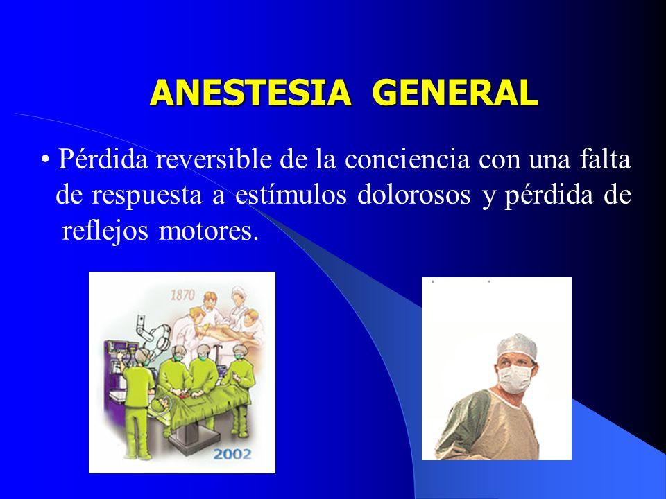 ANESTESIA GENERAL Pérdida reversible de la conciencia con una falta de respuesta a estímulos dolorosos y pérdida de reflejos motores.