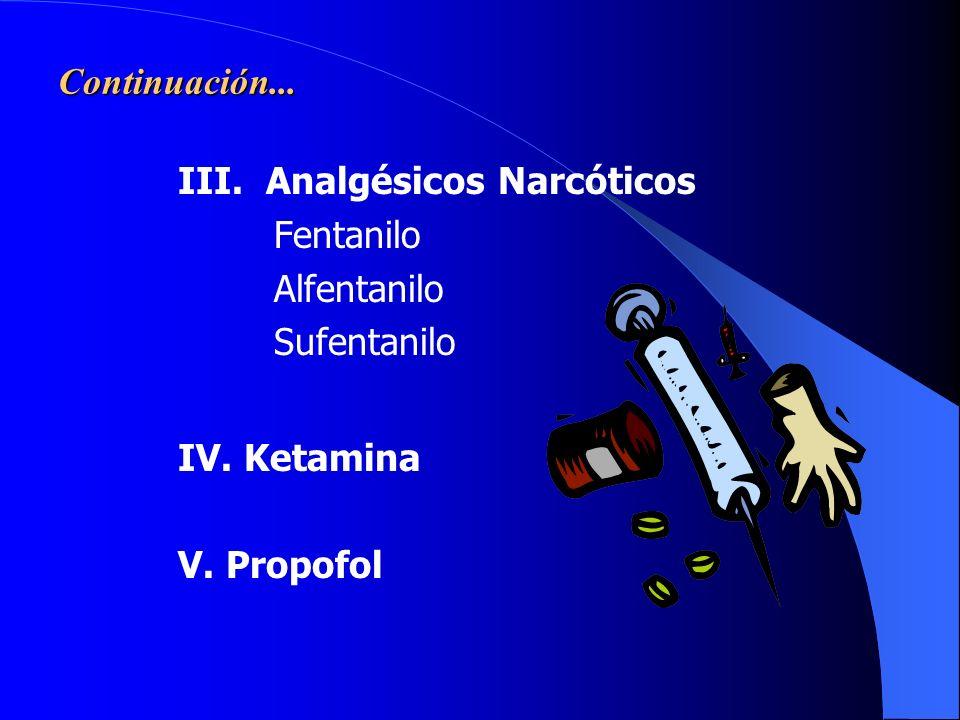 ANESTÉSICOS INTRAVENOSOS I. Barbitúricos Tiopental Sódico II. Benzodiazepinas Diazepam Midazolam Continúa....