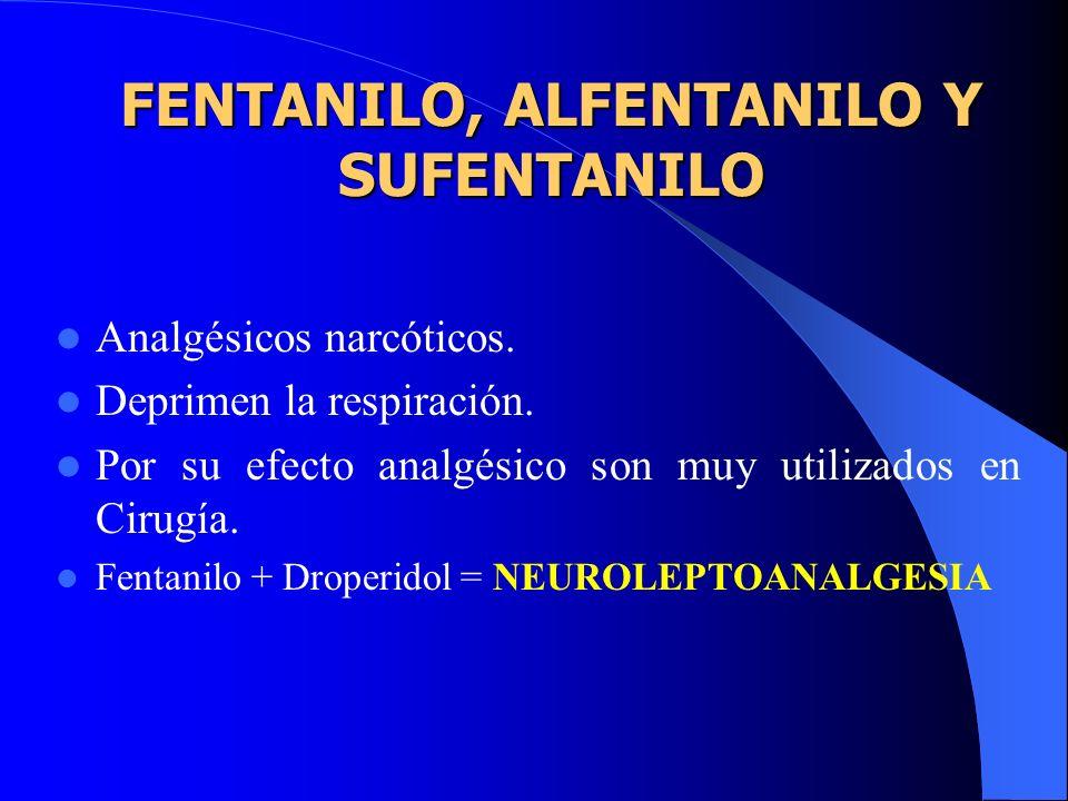 DIAZEPAM y MIDAZOLAM Se utilizan para tranquilizar y producir amnesia y analgesia. El Midazolam es menos irritante que el Diazepam IV. Se administran