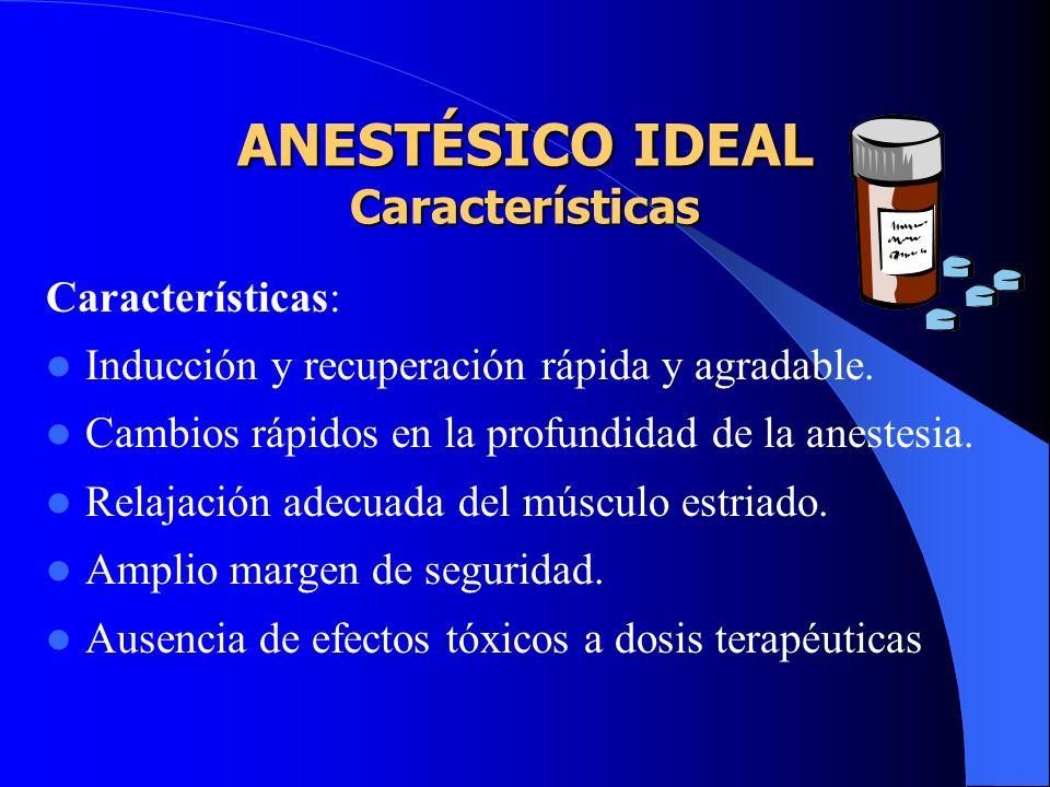 Los Anestésicos difieren en... Potencia. Velocidad de inducción. Grado de relajación muscular. Capacidad para deprimir varios sistemas orgánicos.
