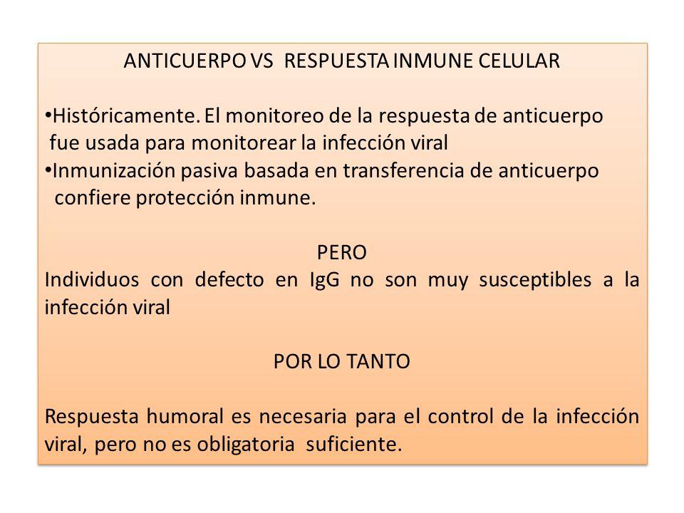 ANTICUERPO VS RESPUESTA INMUNE CELULAR Históricamente. El monitoreo de la respuesta de anticuerpo fue usada para monitorear la infección viral Inmuniz