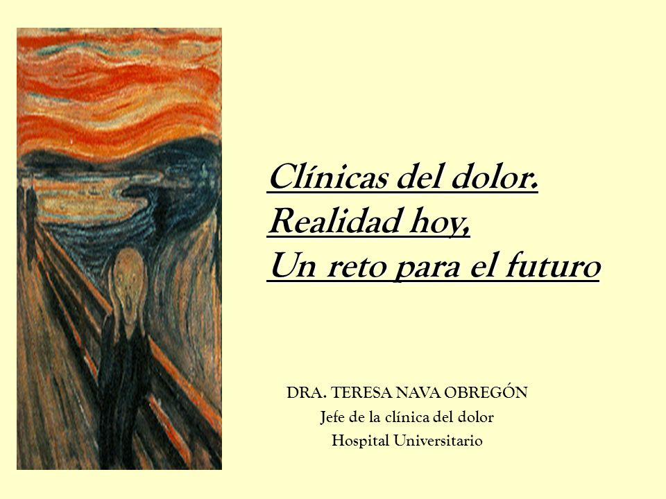 DRA. TERESA NAVA OBREGÓN Jefe de la clínica del dolor Hospital Universitario Clínicas del dolor. Realidad hoy, Un reto para el futuro