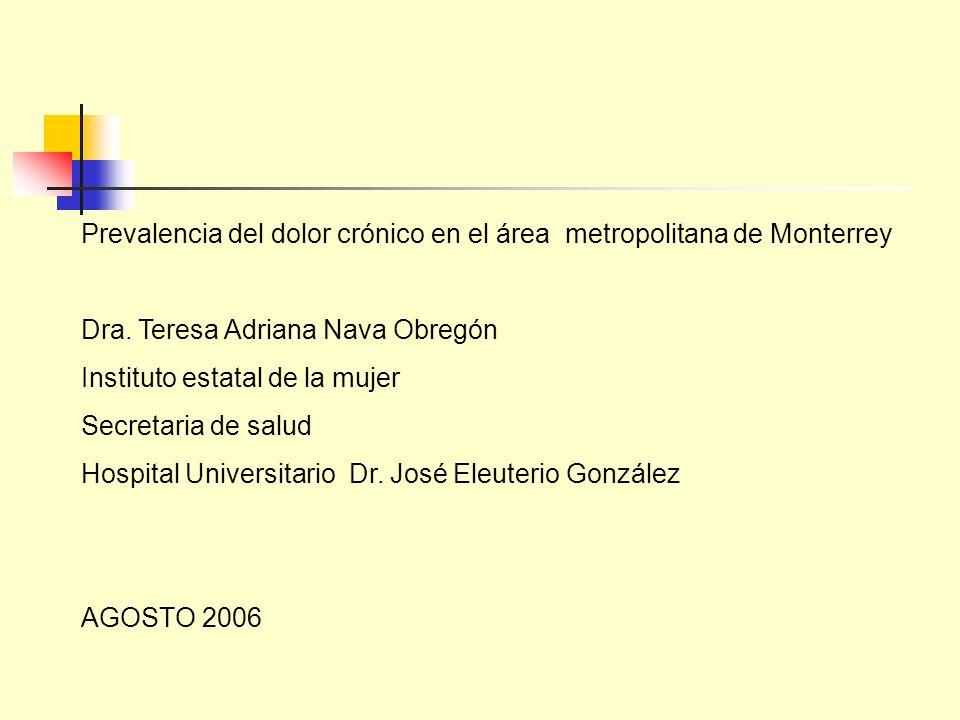 Prevalencia del dolor crónico en el área metropolitana de Monterrey Dra. Teresa Adriana Nava Obregón Instituto estatal de la mujer Secretaria de salud