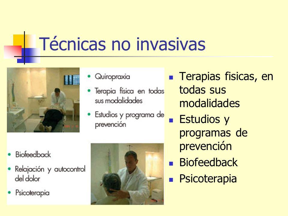 Técnicas no invasivas Terapias fisicas, en todas sus modalidades Estudios y programas de prevención Biofeedback Psicoterapia