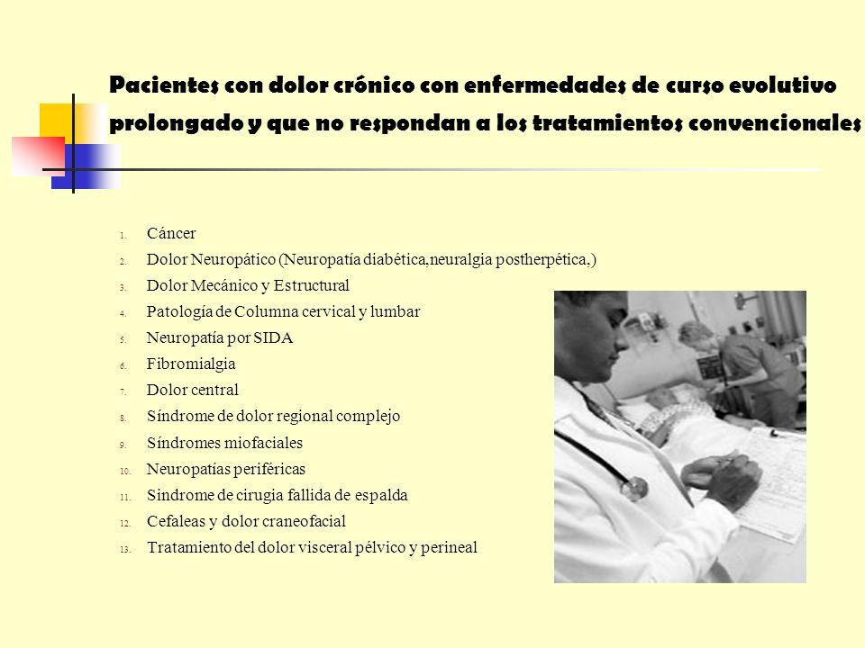 Pacientes con dolor crónico con enfermedades de curso evolutivo prolongado y que no respondan a los tratamientos convencionales 1. Cáncer 2. Dolor Neu