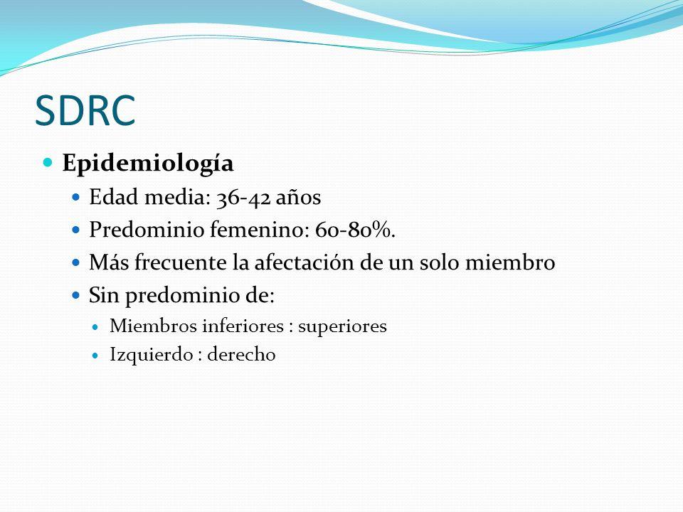 SDRC Epidemiología Edad media: 36-42 años Predominio femenino: 60-80%. Más frecuente la afectación de un solo miembro Sin predominio de: Miembros infe