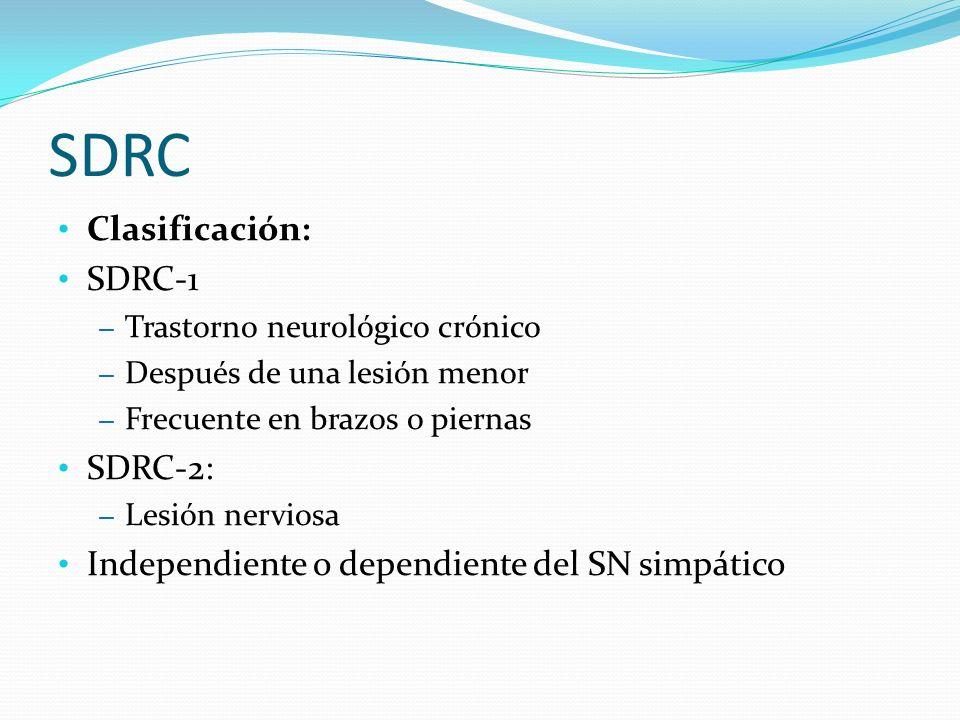 SDRC Clasificación: SDRC-1 – Trastorno neurológico crónico – Después de una lesión menor – Frecuente en brazos o piernas SDRC-2: – Lesión nerviosa Ind