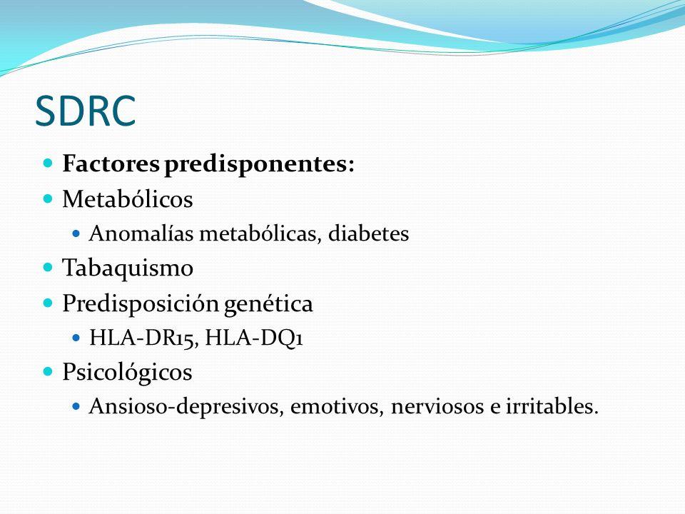 SDRC Factores predisponentes: Metabólicos Anomalías metabólicas, diabetes Tabaquismo Predisposición genética HLA-DR15, HLA-DQ1 Psicológicos Ansioso-de