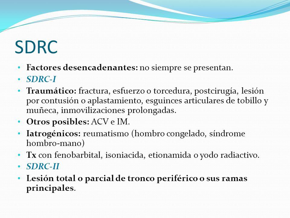 SDRC Factores desencadenantes: no siempre se presentan. SDRC-I Traumático: fractura, esfuerzo o torcedura, postcirugía, lesión por contusión o aplasta