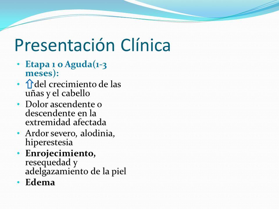 Presentación Clínica Etapa 1 o Aguda(1-3 meses): del crecimiento de las uñas y el cabello Dolor ascendente o descendente en la extremidad afectada Ard