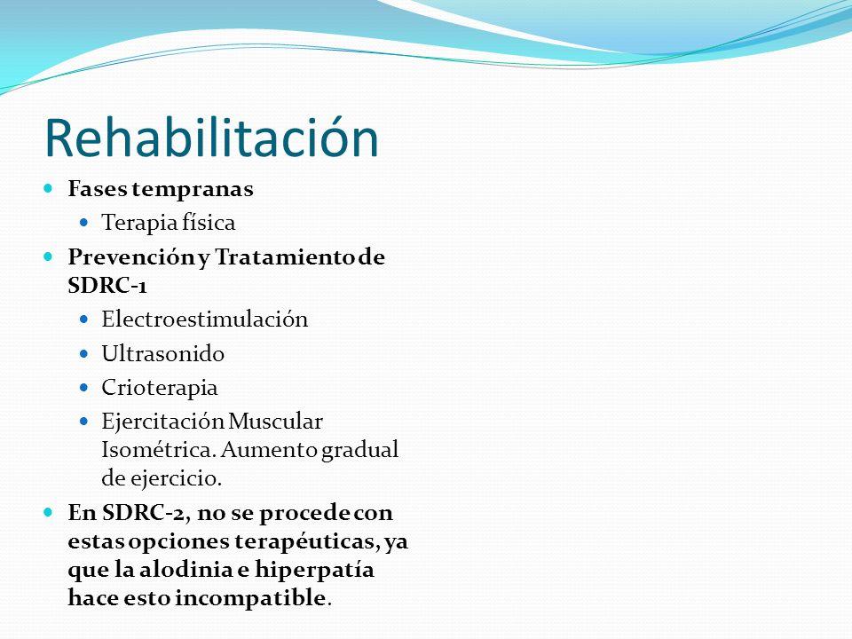 Rehabilitación Fases tempranas Terapia física Prevención y Tratamiento de SDRC-1 Electroestimulación Ultrasonido Crioterapia Ejercitación Muscular Iso