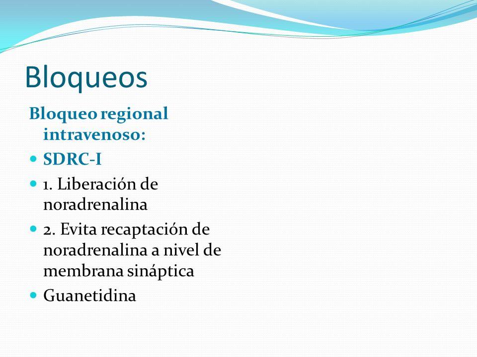 Bloqueos Bloqueo regional intravenoso: SDRC-I 1. Liberación de noradrenalina 2. Evita recaptación de noradrenalina a nivel de membrana sináptica Guane