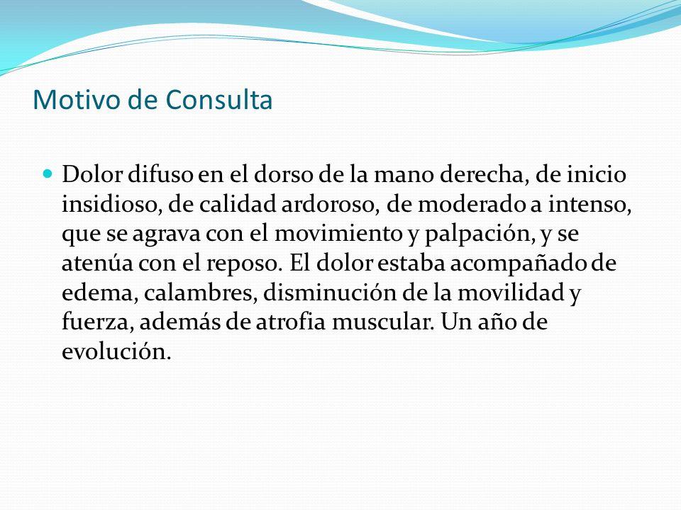 La paciente fue tratada mediante fármacos y terapias usadas como tratamiento del dolor neuropatico como: Lyrica (pregabalina) 75mg /12hr Zaldiv (tramadol + paracetamol) 1/8hrs, en caso de dolor intenso Bloqueo del ganglio estrellado Furamax (Calcio) 1 a la semana