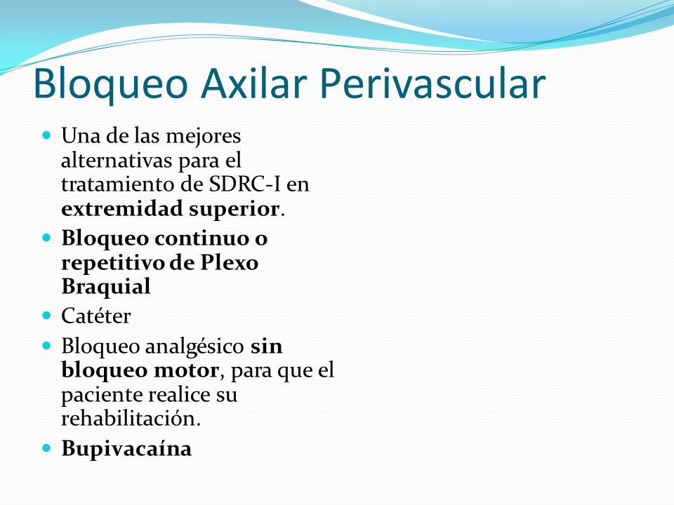 Bloqueo Axilar Perivascular Una de las mejores alternativas para el tratamiento de SDRC-I en extremidad superior. Bloqueo continuo o repetitivo de Ple