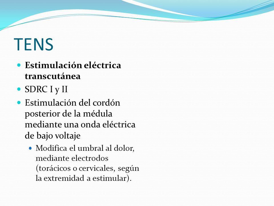 TENS Estimulación eléctrica transcutánea SDRC I y II Estimulación del cordón posterior de la médula mediante una onda eléctrica de bajo voltaje Modifi