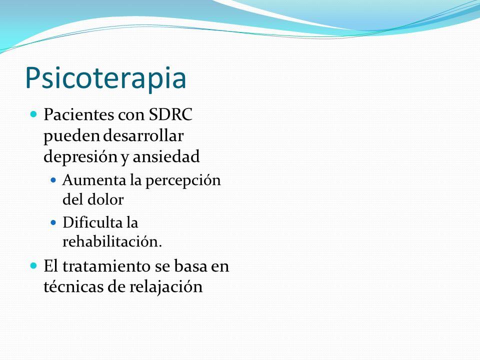Psicoterapia Pacientes con SDRC pueden desarrollar depresión y ansiedad Aumenta la percepción del dolor Dificulta la rehabilitación. El tratamiento se