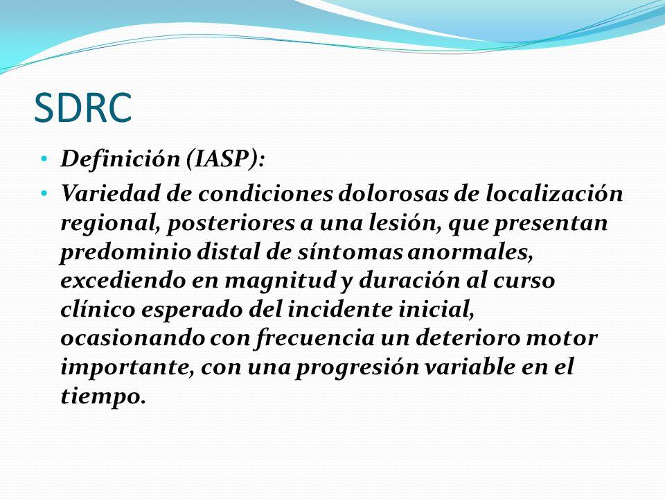 SDRC Definición (IASP): Variedad de condiciones dolorosas de localización regional, posteriores a una lesión, que presentan predominio distal de sínto