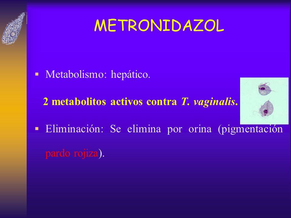 METRONIDAZOL Metabolismo: hepático. 2 metabolitos activos contra T. vaginalis. Eliminación: Se elimina por orina (pigmentación pardo rojiza).