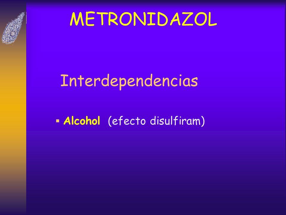 METRONIDAZOL Interdependencias Alcohol (efecto disulfiram)