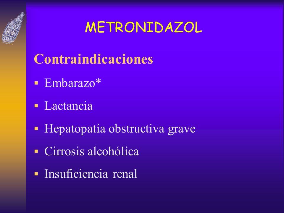 METRONIDAZOL Contraindicaciones Embarazo* Lactancia Hepatopatía obstructiva grave Cirrosis alcohólica Insuficiencia renal