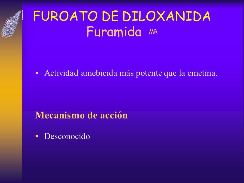 FUROATO DE DILOXANIDA Furamida MR Actividad amebicida más potente que la emetina. Mecanismo de acción Desconocido