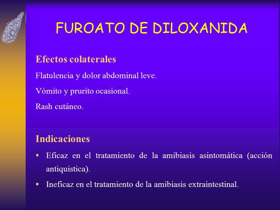 FUROATO DE DILOXANIDA Efectos colaterales Flatulencia y dolor abdominal leve. Vómito y prurito ocasional. Rash cutáneo. Indicaciones Eficaz en el trat