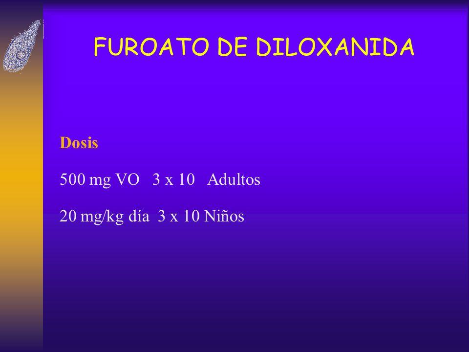 FUROATO DE DILOXANIDA Dosis 500 mg VO 3 x 10 Adultos 20 mg/kg día 3 x 10 Niños