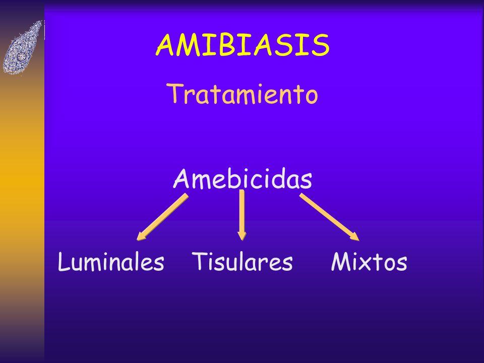 AMIBIASIS Tratamiento LuminalesTisulares Amebicidas Mixtos