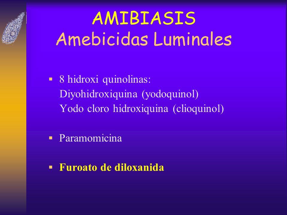 AMIBIASIS Amebicidas Luminales 8 hidroxi quinolinas: Diyohidroxiquina (yodoquinol) Yodo cloro hidroxiquina (clioquinol) Paramomicina Furoato de diloxa
