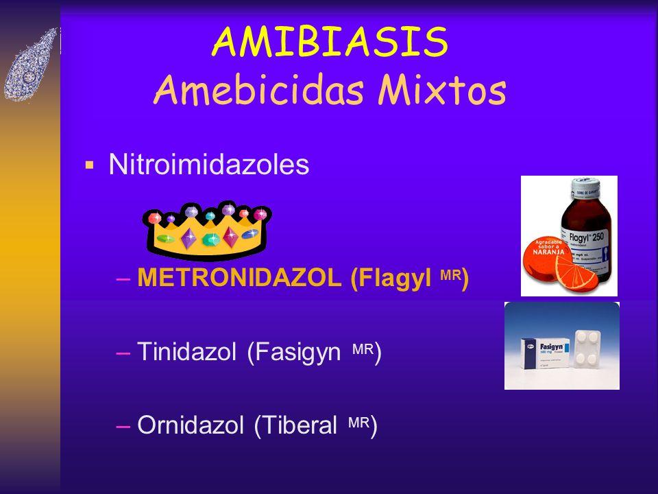 AMIBIASIS Amebicidas Mixtos Nitroimidazoles –METRONIDAZOL (Flagyl MR ) –Tinidazol (Fasigyn MR ) –Ornidazol (Tiberal MR )