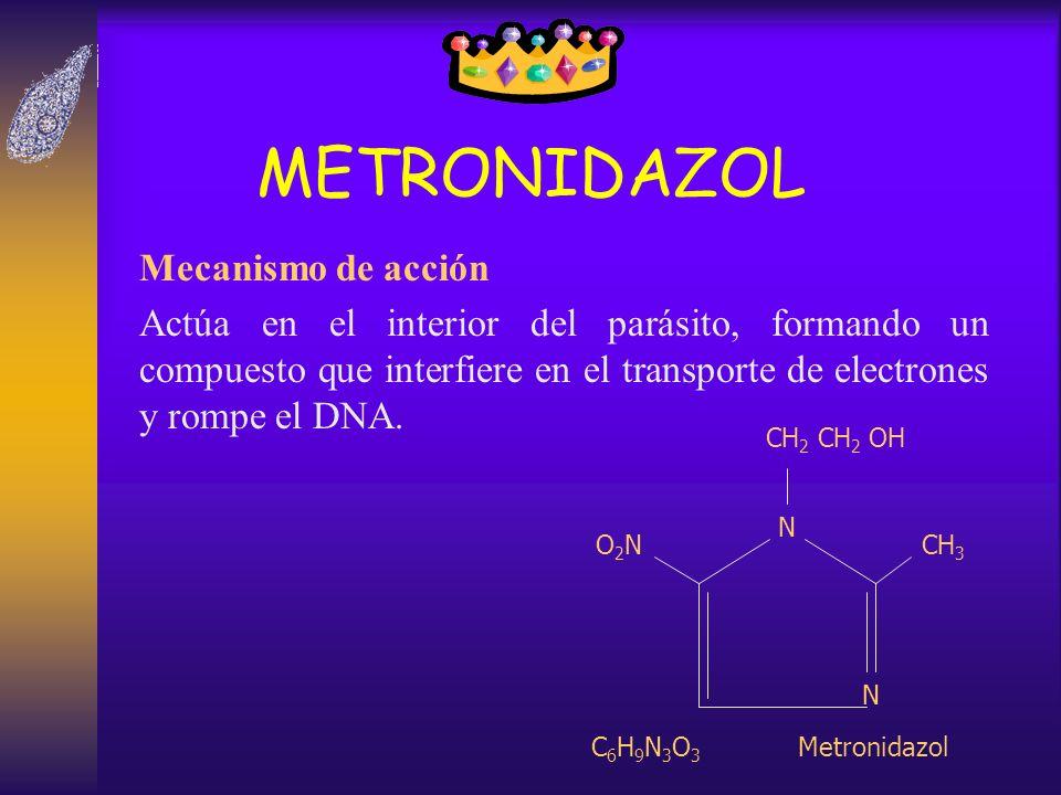 METRONIDAZOL Mecanismo de acción Actúa en el interior del parásito, formando un compuesto que interfiere en el transporte de electrones y rompe el DNA