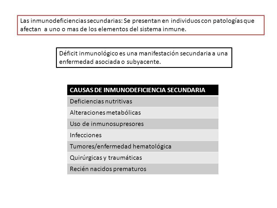 El signo clínico característico en los enfermos con inmunodeficiencia Son las infecciones Las infecciones mas frecuentes son las : Senopulmonares---otitis, sinusitis, bronquitis, neumonía (meningitis y sepsis) Agente infecciosoLocalización de la infección Defecto inmunologico Bacterias encapsuladas y enterovirus Diarreas y trastornos de vias respiratorias Deficiencia humoral Agentes oportunistas, hongos, virus y Pneumocystis Infecciones de vias respiratorias Deficiencia celular NeisseriaInfecciones de vias respiratorias y SNC Deficiencia de complemento Staphylococcus y Pseudomonas Infecciones de la piel Defectos fagociticos