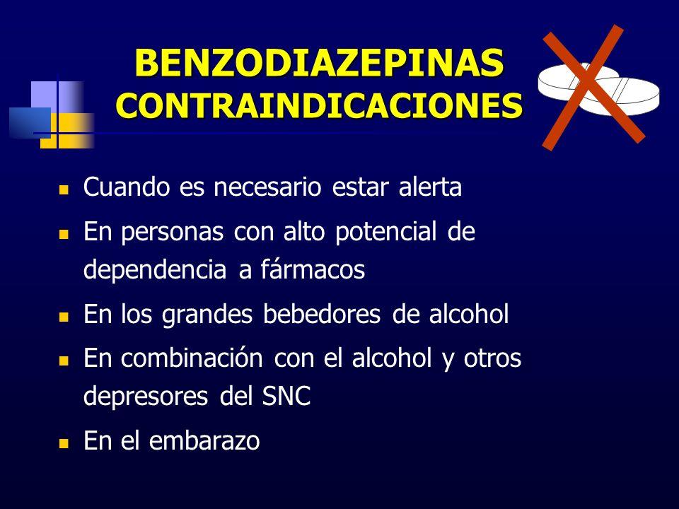 BENZODIAZEPINAS CONTRAINDICACIONES Cuando es necesario estar alerta En personas con alto potencial de dependencia a fármacos En los grandes bebedores