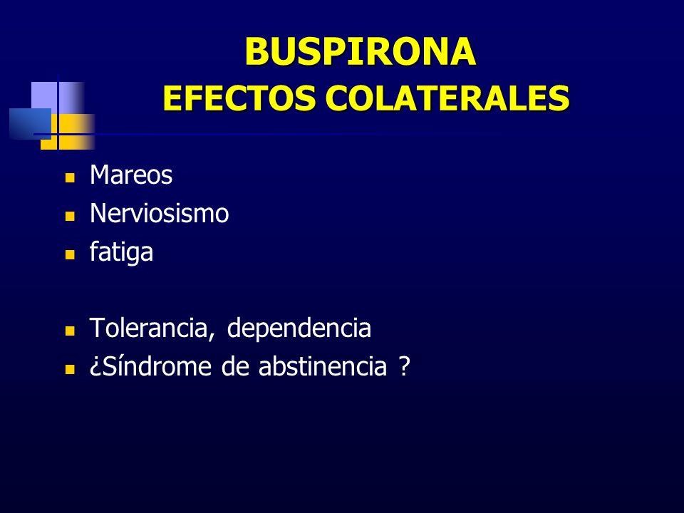 BUSPIRONA EFECTOS COLATERALES Mareos Nerviosismo fatiga Tolerancia, dependencia ¿Síndrome de abstinencia ?