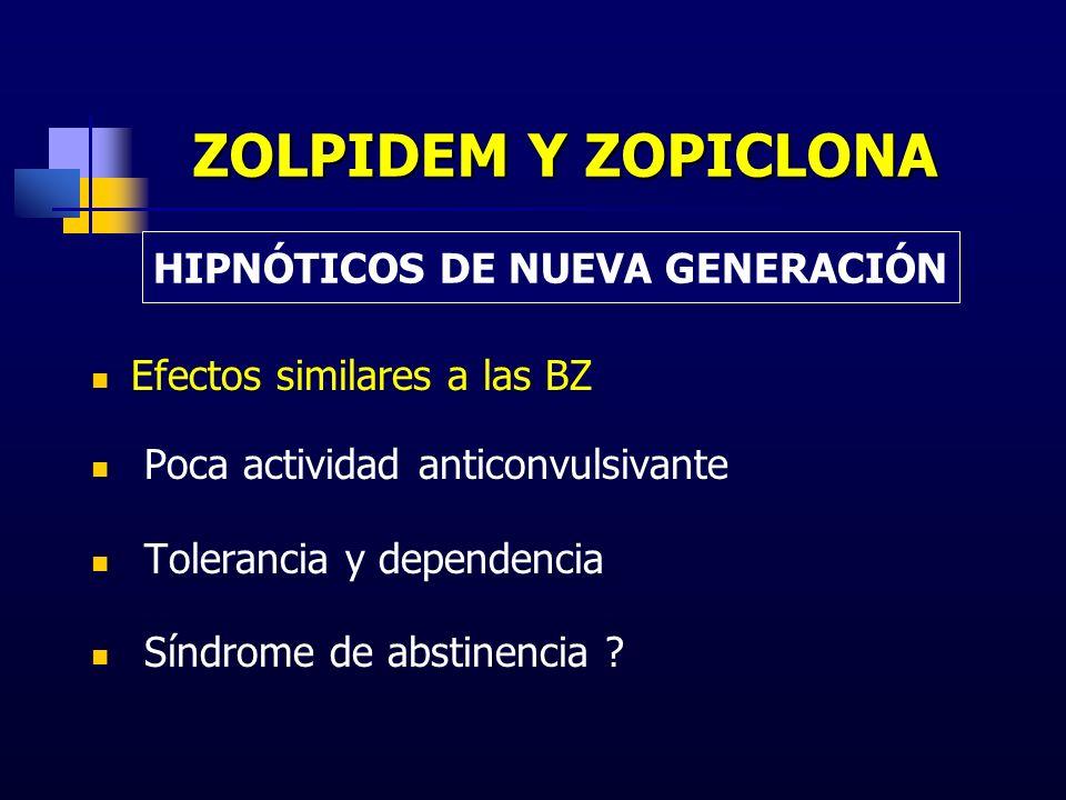 ZOLPIDEM Y ZOPICLONA Efectos similares a las BZ Poca actividad anticonvulsivante Tolerancia y dependencia Síndrome de abstinencia ? HIPNÓTICOS DE NUEV