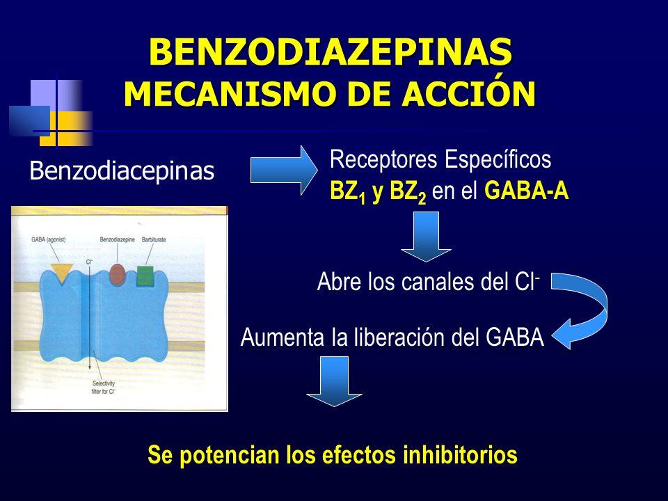 BENZODIAZEPINAS MECANISMO DE ACCIÓN Benzodiacepinas Receptores Específicos BZ 1 y BZ 2 en el GABA-A Abre los canales del Cl - Aumenta la liberación de
