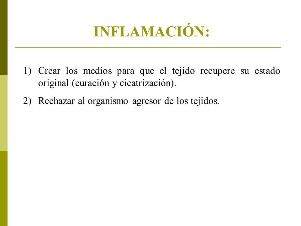 INFLAMACIÓN: 1)Crear los medios para que el tejido recupere su estado original (curación y cicatrización).