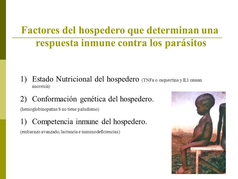 Factores del hospedero que determinan una respuesta inmune contra los parásitos 1)Estado Nutricional del hospedero (TNFa o caquectina y IL1 causan anorexia) 2)Conformación genética del hospedero.