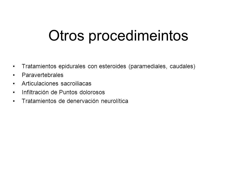 Otros procedimeintos Tratamientos epidurales con esteroides (paramediales, caudales) Paravertebrales Articulaciones sacroiliacas Infiltración de Punto