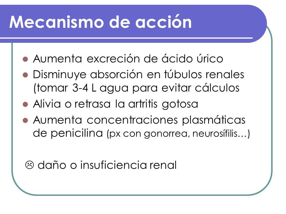 Mecanismo de acción Aumenta excreción de ácido úrico Disminuye absorción en túbulos renales (tomar 3-4 L agua para evitar cálculos Alivia o retrasa la