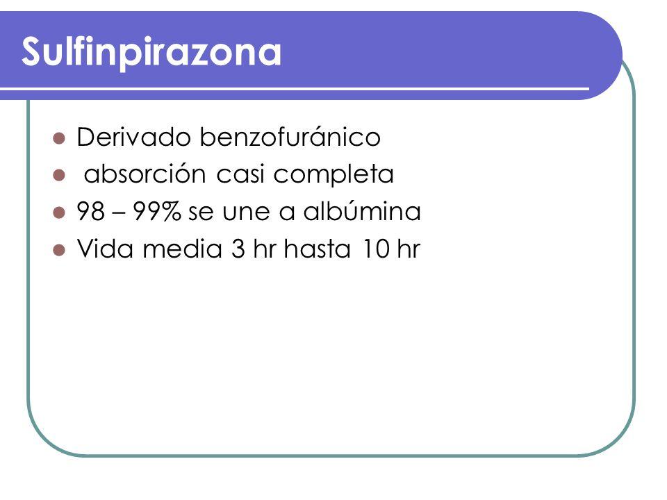 Sulfinpirazona Derivado benzofuránico absorción casi completa 98 – 99% se une a albúmina Vida media 3 hr hasta 10 hr